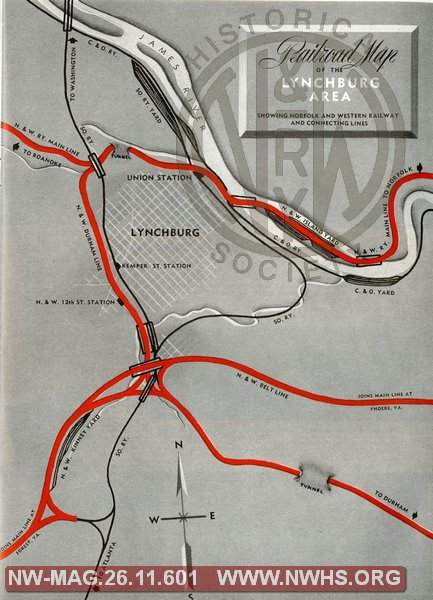 Railroad Map of the Lynchburg Area