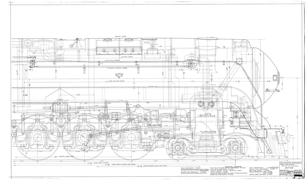 Side Elevation, Arrangement, Front, Loco. Class J  (Eng. Nos. 600-604) (Right Side)