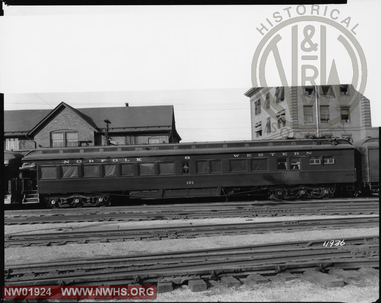 "Class ""XO"" #101, Side View, B&W  9Blt. Pullman 8/1892 as N&W #100..renumbered 2/1911 to allow first all-steel business car to be #100)"