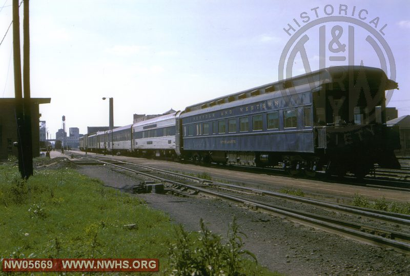 N&W Passenger Train at Decatur, IL with City of Lafayette on Rear May 1967
