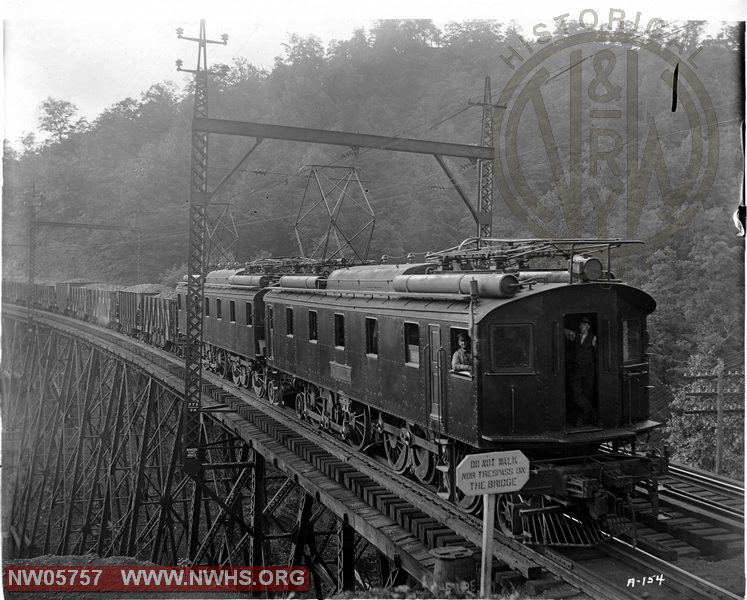 N&W Loco. Class LC1 on Bridge Near Maybeury, WV