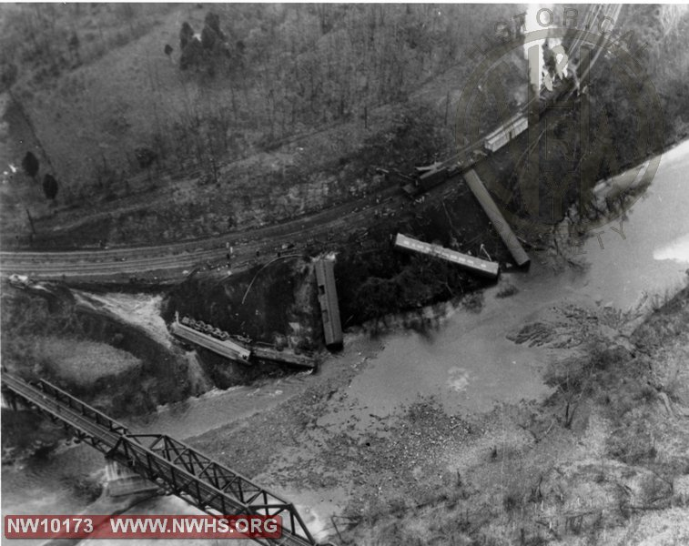 N&W Class J 611 derailment at Cedar, WV on Tug river, aerial view